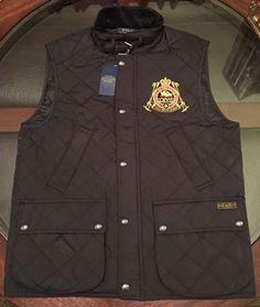 Ralph Lauren Equestrian Quilted Vest Sz Small Black New W Tags #RalphLauren