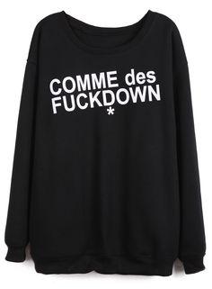 Suéter suelto manga larga estampado letras-Negro EUR€18.45
