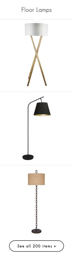 """""""Floor Lamps"""" by sally-simpson ❤ liked on Polyvore featuring home, lighting, floor lamps, wood lamp, modern lighting, modern floor lamps, white wood floor lamp, white lights, black and arc lamp"""
