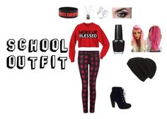 """School Outfit #1"" by haileythomas-1 on Polyvore featuring Dex, Bamboo, OPI and Phase 3"