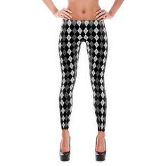 legzo leggings - black & white argyle