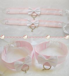 White and pink garters and cuffs! Trendy Baby, Daddy Aesthetic, Knife Aesthetic, Kitten Play Collar, Baby Baby, Kittens Playing, Kawaii Clothes, Chocker, Cute Fashion