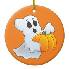 Cute Halloween Ghost with pumpkin Ceramic Ornament - home gifts ideas decor special unique custom individual customized individualized