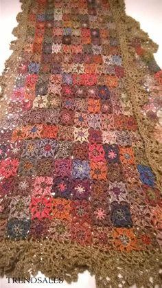 25 x 140 - Multi Crochet Fabric, Freeform Crochet, Love Crochet, Crochet Granny, Crochet Scarves, Crochet Clothes, Knit Crochet, Granny Square, Crochet Snowflakes