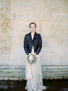 Bride in Leather Jacket - Informal Pretty Chelsea London Wedding - Photo by Peachey Photography