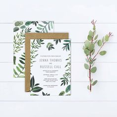 Loving green for Pantone's 2017 Wedding Color of the year! Fresh  hand-painted announcements from Huckleberry Paper. #organic #wedding2017 #weddingtrendsfor2017 #foilage #weddinginvitiations #weddingannouncements #watercolor #green #brides #2017bride #uniqueweddinginvitations #simplewedding #2017weddingtrends