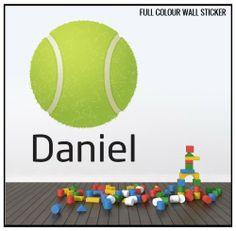 Full Colour Personalised Name Sports Tennis Children's Wall Sticker Wall Decal Wall Art Vinyl Wall Mural by V&C Designs Ltd, http://www.amazon.co.uk/dp/B00D6HRPK2/ref=cm_sw_r_pi_dp_hAhstb00ST84E