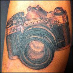 Vintage Canon Camera Tattooed by Jeremy Stewart, Pinnacle Tattoo, Corpus Christi, TX.