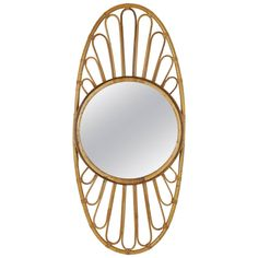 Mid century bamboo oval mirror | See more antique and modern Wall Mirrors at http://www.1stdibs.com/furniture/mirrors/wall-mirrors