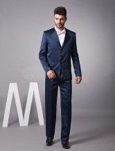 Formal Dark Navy Single Breasted Worsted Mens Wedding Suit $143.99
