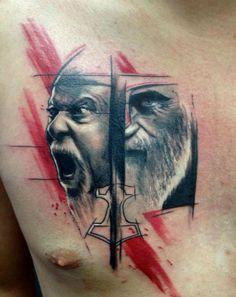 Adam Kremer « Tattoo Art Project ... #tattoo #abstract #art #artistic #ink #splash #inksplash #watercolor #aquarelle #sketch #sketchart #scrap #trash #polka #trashpolka #photoshop #adam #kremer #czech #adamkremer #face #scream #beard #black #red #chest #tribo #tribotattoo