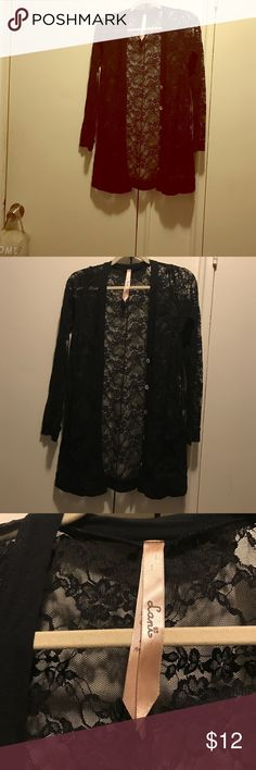 Lani long black lace cardigan Size M/L worn twice purchased from Nasty Gal Lani Sweaters Cardigans
