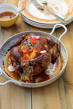 Kokonainen paahdettu kana aasialaisittain