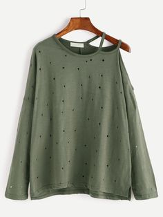 Army Green Asymmetric Cold Shoulder High Low Eyelet T-Shirt — 0.00 € color: Green size: one-size