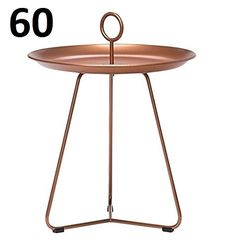 Houe dk Eyelet 60 Metal Side Table with Handle Copper Diameter: 59 CM, suitable for indoor and outdoor use, Copper, Henrik Pedersen, DäNEMARK- Varnished Steel / Tray Table / Tray Table / Garden / Patio Square Side Table, 10902-2828