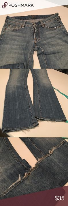 """7 for all Mankind jeans; boot cut; sz 25 Good used condition. Fraying at the bottom of the jeans as pictured. Inseam 33"""" 7 For All Mankind Jeans Boot Cut"""