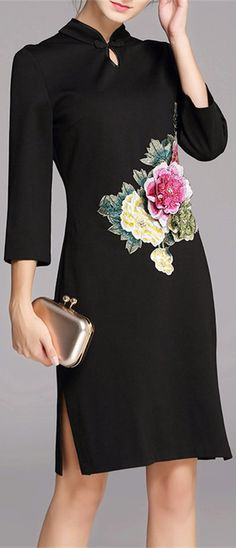 Embroidered Floral Cheongsam Dress