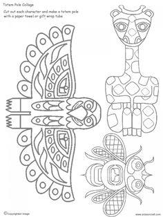 Tlingit Totem Pole Coloring Pages Totem Pole Drawing, Totem Pole Craft, Native American Totem Poles, Native American Art, Native American Projects, Art Doodle, Cultures Du Monde, Pole Art, Art Worksheets