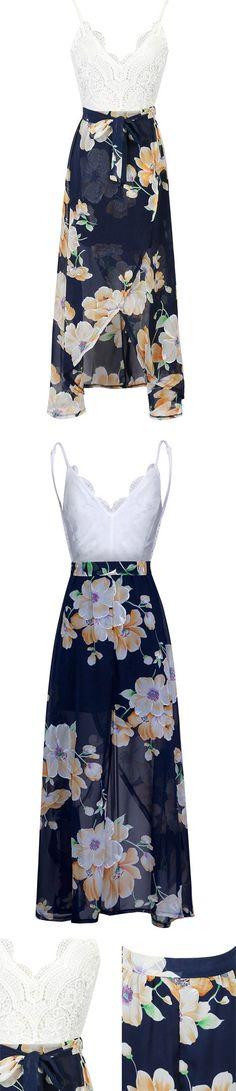 MYNYSTYLE   $19.99 White V-neck Lace Overlay Open Back Floral Split Maxi Dress.