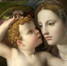 colourthysoul: Agnolo di Cosimo (Il Bronzino) - The Madonna and Child with Saints (detail) Renaissance Kunst, Renaissance Paintings, Catholic Art, Religious Art, Blessed Mother Mary, Mary And Jesus, Holy Mary, Madonna And Child, Sacred Art