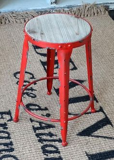 French Industrial Iron and Timber Bar Stool in red, $99.95