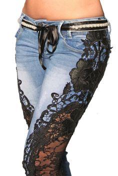 Design Damen Jeans aus Paris Toba&Co Spitze Handgefertigt Größe 34 36 38 40 42