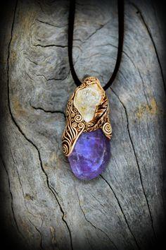 Amethyst raw Crystal Quartz gemstone healing pendant