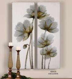 Uttermost Mini Floral Glow Wall Art Set/4