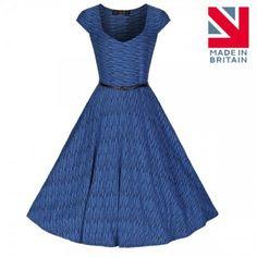 Belle' Sweetheart Neckline Textured Stripe Swing Dress