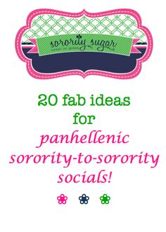 Building bonds between sorority chapters is a terrific idea for every panhellenic council. Having fun together is a great way to promote unity and strengthen greek life on campus! Check out the sorority sugar top 20 social & activity ideas for chapter fraternizing! <3 BLOG LINK: http://sororitysugar.tumblr.com/post/75918710295/sorority-to-sorority-socials#notes