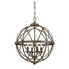 Millennium Lighting Lakewood 20-in Antique Silver Industrial Single Orb Pendant
