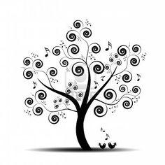 Árbol de arte abstracto con notas de música y encantadoras aves Foto de archivo