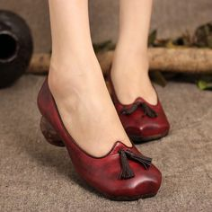86.70$  Watch now - http://alimpw.worldwells.pw/go.php?t=32737250950 - Genuine Leather heels women shoes ladies handmade leather women pumps casual high heels shallow mouth women single shoes 86.70$