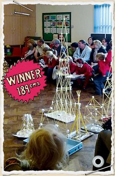 A spaghetti and marshmallow tower. Looks like it would be fun to do with kids and even teens.