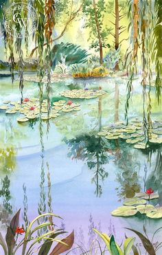 In 2001 my sister and I took a trip to France. One of our visits was to the home of famous impressionist Claude Monet. His house was very large and covered with vines and flowers. Monet had a fascination with flowers and they covered his property. Arches Watercolor Paper, Watercolor Landscape, Watercolor Paintings, Watercolours, Monet Paintings, Paintings I Love, Claude Monet, Monet Water Lilies, Art Aquarelle