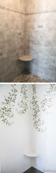 Stenciled shower wall - Painting shower tile - floors and walls with bonding primer and oil base enamel