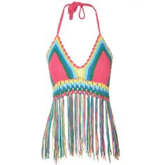 Rainbow Crochet Fringe Crop Top ($38) ❤ liked on Polyvore featuring tops, multi, halter top, summer tops, crochet halter top, white fringe top and halter crop top