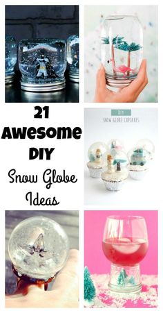 So many fun snow globe ideas to make with kids or friends to get into the winter season. Something for everyone of all ages. Snow Globe Crafts, Diy Snow Globe, Christmas Snow Globes, Christmas Mason Jars, Diy Christmas Gifts, Xmas Crafts, Diy Crafts, Mason Jar Crafts, Mason Jar Diy