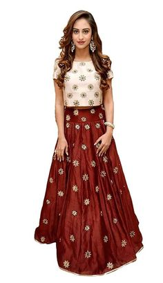 #Rs.1149 /- || Maroon Taffeta Silk Embroidered Wedding Crop Top And Lehenga Choli with Dupatta  || Order On call - 011-6565-8686 || On WhatsApp :- 08860106635  👉Click Here to Buy ➟ https://www.desihault.com/