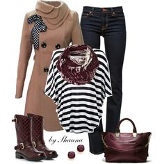 """""""Adorable trench coat w/stripes and jeans"""" by shauna-rogers on Polyvore"""