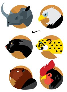 Always with Honor - NIKE Animal Badges Illustration / 2012 21 animal icons representing each subdivision of NIKE North America, to be used internally for their annual conference in Portland, OR. Art And Illustration, Graphic Design Illustration, Game Design, Icon Design, Design Art, Arte Pop, Animal Logo, Grafik Design, Animal Design