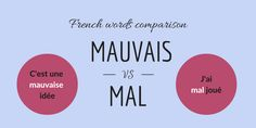 """Mauvais vs Mal: in this post, you can learn about """"mauvais"""" and """"mal"""", two words whose meanings are close but which have different usages. Learning French, Idioms, Foreign Languages, Vocabulary, Education, Words, Travel, French Tips, Grammar"""