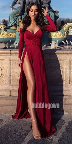 off-the-shoulder, long sleeve floor length burgundy evening dress with s. A-line, off-the-shoulder, long sleeve floor length burgundy evening dress with s. Split Prom Dresses, Prom Dresses Long With Sleeves, Prom Dresses With Sleeves, Prom Dresses Online, Homecoming Dresses, Dress Online, Long Dress For Prom, Long Sleeve Formal Dress, Prom Long