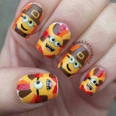 Thanksgiving minions! Follow me on instagram @Nailstorming and hashtag #nailstormed if you recreate! #thanksgiving #thanksgivingnails #minions #nails #nailart #minionnails
