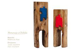 Homenaje a Eduardo Chillida Bookends, Home Decor, Red, Blue Nails, Sculptures, Wood, Homemade Home Decor, Interior Design, Home Interiors