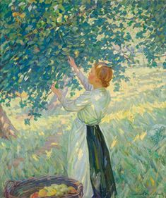 Helen McNicoll, The Apple Gatherer, c. 1911. Oil on canvas, 106.8 x 92.2 cm. Art Gallery of Hamilton. #ArtCanInstitute #CanadianArt