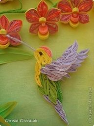 *QUILLED ~ orchid and hummingbird