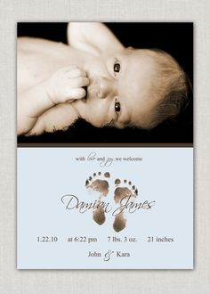 #baby #boy #birth #announcement #photo #card #footprint #feet