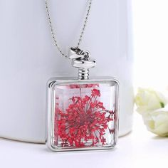 Real red flower hollow glass pendant necklace  #Pendant