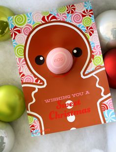 Gingerbread Man EOS Lip Balm holiday gift idea made with Cricut Explore and Print then Cut feature -- Dimple Prints. #DesignSpaceStar Round 5